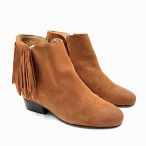 Matiko Cognac Suede Leather Fringed Wedge Boots 9